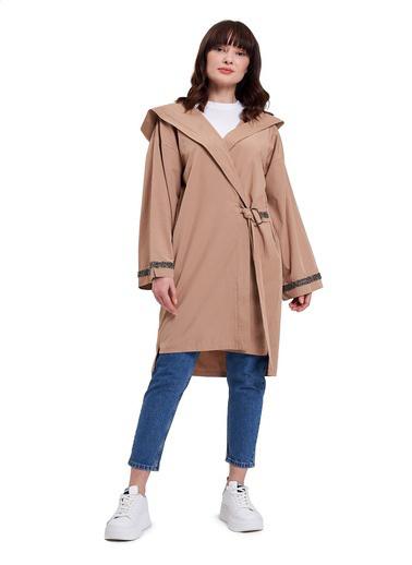 Mizalle Mızalle Kapüşonlu Süs Taşlı Tunik Boy Ceket  Camel